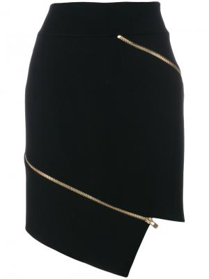 Zipped asymmetric skirt Alexandre Vauthier. Цвет: чёрный