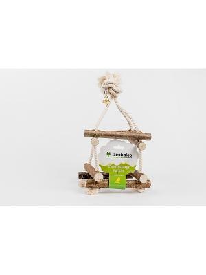 Игрушка для птиц Качель 4Д два этажа с хлоп шнур до 35см Zoobaloo. Цвет: коричневый