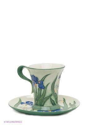 Чайная пара Ирис Pavone. Цвет: светло-зеленый, синий