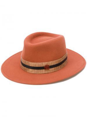 Шляпа с булавкой логотипом Maison Michel. Цвет: жёлтый и оранжевый