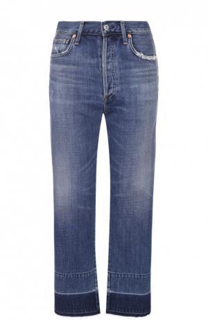Укороченные джинсы прямого кроя с потертостями и бахромой Citizens Of Humanity. Цвет: синий