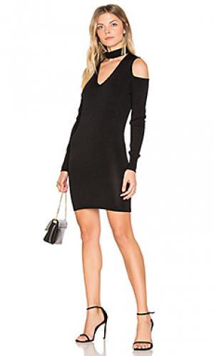Вязаное платье с открытыми плечами atlantis Central Park West. Цвет: черный