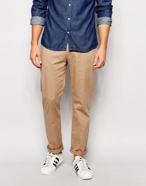 ASOS Прямые брюки чиносы. Цвет: светло-бежевый
