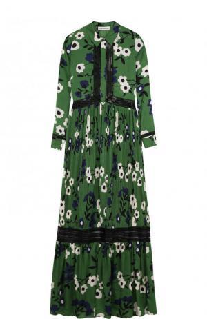 Платье-рубашка с цветочным принтом и длинным рукавом self-portrait. Цвет: зеленый