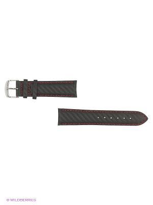 Ремень для часов, карбон, черный, красная строчка, 22 мм. J.A. Willson. Цвет: черный