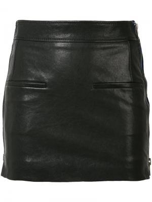 Кожаная юбка с молниями Haider Ackermann. Цвет: чёрный