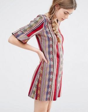 Anna Sui Цельнокройное платье в полоску. Цвет: красный