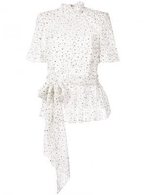 Блузка с бантом и завязкой Rebecca Taylor. Цвет: белый