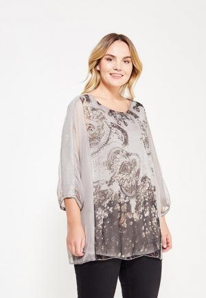Блуза Ulla Popken. Цвет: серый