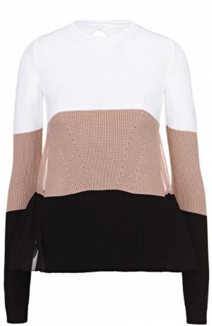 Пуловер в контрастную полоску с шелковой спинкой No. 21. Цвет: черный