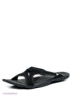 Шлепанцы Adidas. Цвет: черный