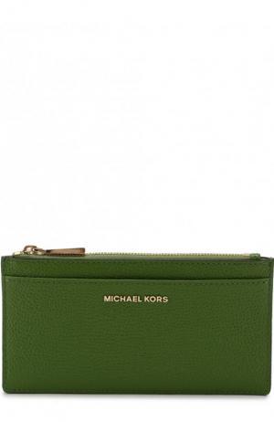 Кожаный футляр для кредитных карт MICHAEL Kors. Цвет: зеленый