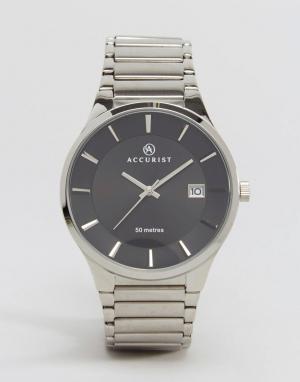 Accurist Серебристые наручные часы с черным циферблатом. Цвет: серебряный