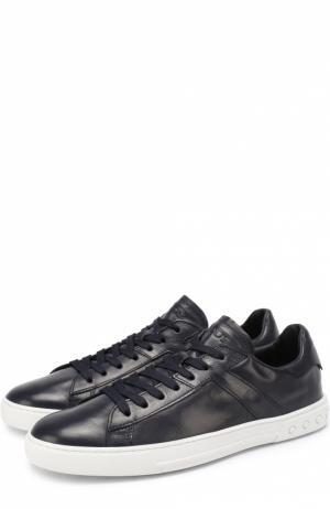 Кожаные кеды на шнуровке Tod's. Цвет: темно-синий