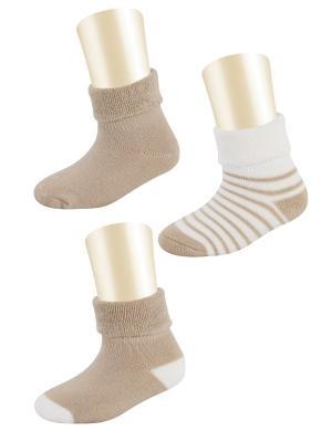 Носки, 3 пары Glamuriki. Цвет: коричневый