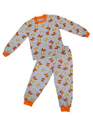 Пижама Апрель. Цвет: серый, оранжевый, желтый