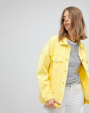 Vero Moda Окрашенная джинсовая куртка. Цвет: желтый