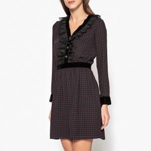 Платье короткое прямого покроя с длинными рукавами THE KOOPLES. Цвет: черный/ красный