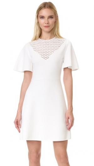 Платье с короткими рукавами Giambattista Valli. Цвет: белый