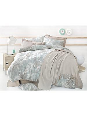 Комплект постельного белья HERRA сатин, 200ТС, 100% хлопок, евро ISSIMO Home. Цвет: голубой