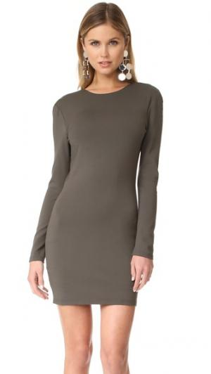 Двустороннее мини-платье с длинными рукавами Bec & Bridge. Цвет: оливковый