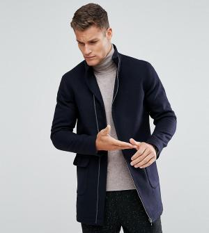 Noak Пальто с асимметричным воротником-стойкой. Цвет: темно-синий