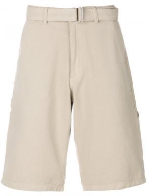Джинсовые шорты с поясом Ami Alexandre Mattiussi. Цвет: телесный