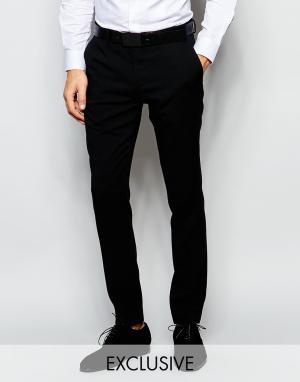 Number Eight Savile Row Эксклюзивные эластичные брюки скинни. Цвет: черный