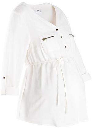 Мода для беременных: блузка с поясом (цвет белой шерсти) bonprix. Цвет: цвет белой шерсти