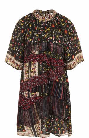 Шелковое мини-платье с оборками и принтом No. 21. Цвет: разноцветный