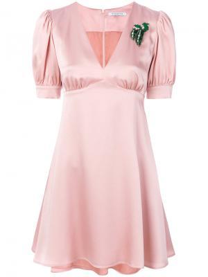 Платье с брошкой Vivetta. Цвет: розовый и фиолетовый