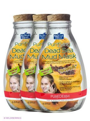 Очищающая маска с глиной Мертвого моря Папайя, 3 шт. Purederm. Цвет: желтый