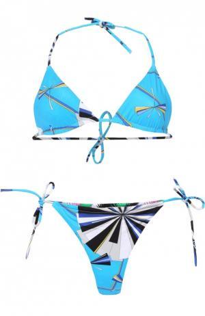 Раздельный купальник с ярким принтом Emilio Pucci. Цвет: голубой