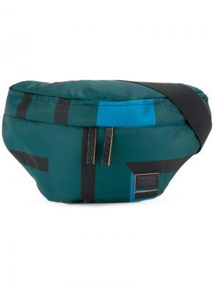 Поясная сумка с полосатым принтом Marni. Цвет: синий