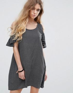 Rock & Religion Платье с открытыми плечами и принтом. Цвет: мульти