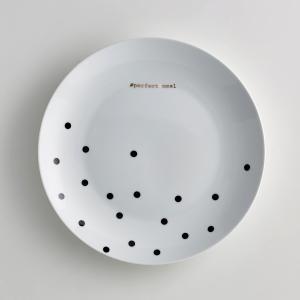 Комплект из 4 мелких тарелок фарфора Kubler La Redoute Interieurs. Цвет: черный в горошек