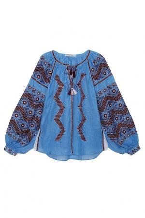 Льняная блузка Mina Vita Kin. Цвет: голубой