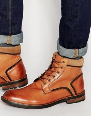 Dune Кожаные светло-коричневые ботинки на шнуровке. Цвет: рыжий