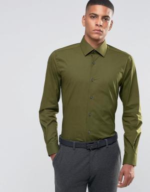 Number Eight Savile Row Зауженная рубашка в строгом стиле. Цвет: зеленый
