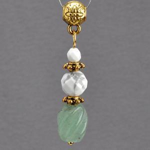 Кулон На счастье Нефрит, турквенит, арт. пд-кам2134 Бусики-Колечки. Цвет: зеленый