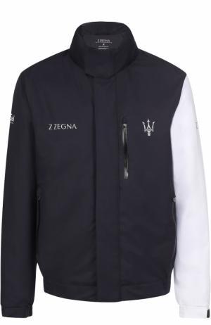 Утепленная крутка на молнии с воротником-стойкой Z Zegna. Цвет: темно-синий