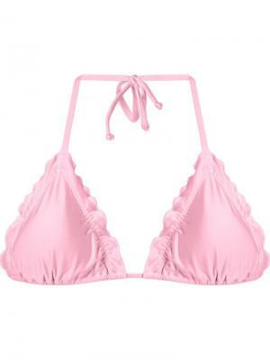 Верх бикини с оборками Skinbiquini. Цвет: розовый и фиолетовый