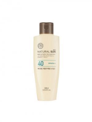Мягкий солнцезащитный крем (молочко) для всей семьи NATURAL SUN SPF40 PA+++ ,120 мл The Face Shop. Цвет: белый