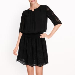 Платье с ажурной вышивкой MAISON SCOTCH. Цвет: черный