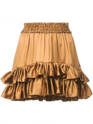 Мини-юбка с рюшами Love Shack Fancy. Цвет: коричневый