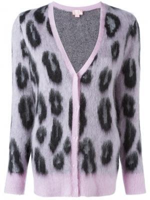 Кардиган с леопардовым принтом Giamba. Цвет: розовый и фиолетовый