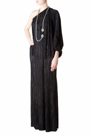Плиссированная юбка в пол L'Agence. Цвет: черный