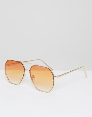 ASOS Солнцезащитные очки-авиаторы с оранжевыми стеклами. Цвет: золотой