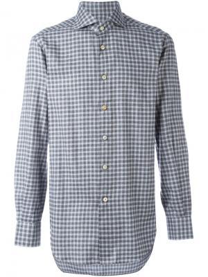 Рубашка в клетку Kiton. Цвет: серый