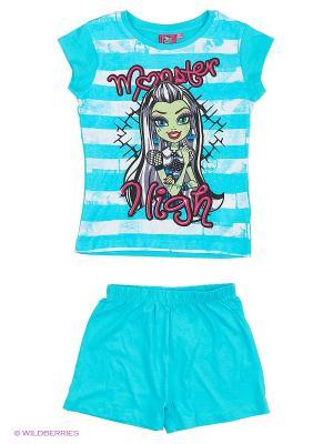 Пижама Monster High. Цвет: лазурный, белый